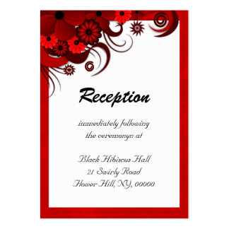 Red Hibiscus Wedding Reception Enclosure Cards Business Card Templates
