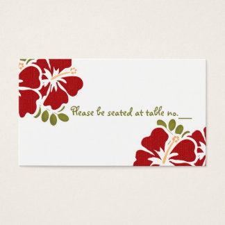 Red Hibiscus Wedding Table Place Cards