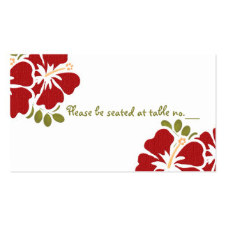 Red Hibiscus Wedding Table Place Cards Business Card Templates