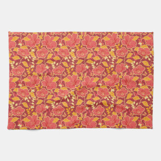 Red Hibiscus With Butterflies Kitchen Towel
