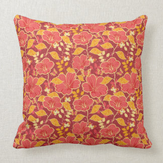 Red Hibiscus With Butterflies Pillow