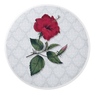 Red Hibiscus with Lace Background Ceramic Knob