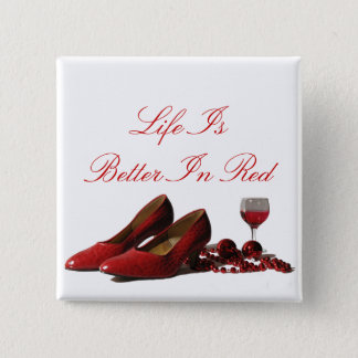Red High Heel Shoes and Red Wine 15 Cm Square Badge