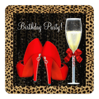 Red High Heel Shoes Birthday Party Personalized Announcement Cards