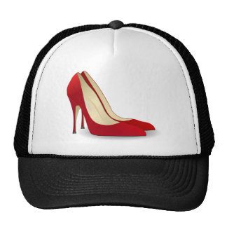 red high heel shoes mesh hat