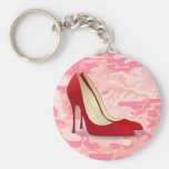 red high heel shoes key chain