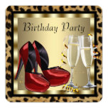 Red High Heel Shoes Leopard Birthday Invites