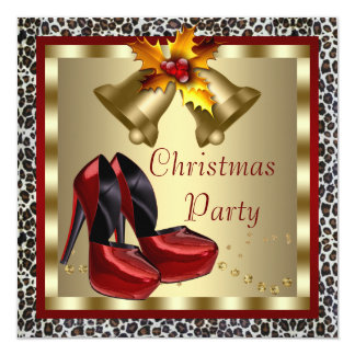 Red High Heel Shoes Leopard Christmas Party Card