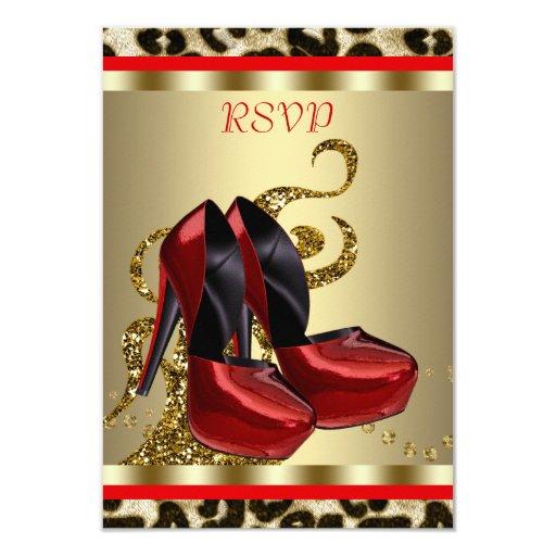 Red High Heel Shoes Leopard Sweet Sixteen RSVP 9 Cm X 13 Cm Invitation Card