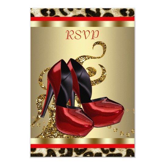 Red High Heel Shoes Leopard Sweet Sixteen RSVP Card