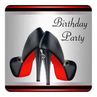 Red High Heel Shoes Red and Black Birthday Party 13 Cm X 13 Cm Square Invitation Card