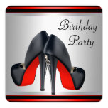 Red High Heel Shoes Red and Black Birthday Party Custom Announcements