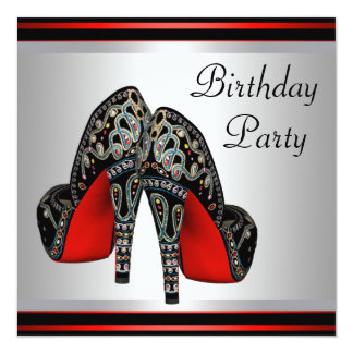 Red High Heel  Shoes Red Black Birthday Party 13 Cm X 13 Cm Square Invitation Card