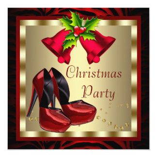 Red High Heel Shoes Red Christmas Party 13 Cm X 13 Cm Square Invitation Card