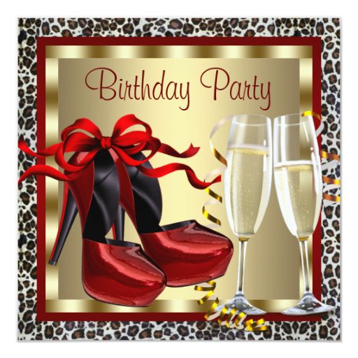 Red High Heel Shoes Red Leopard Birthday 13 Cm X 13 Cm Square Invitation Card