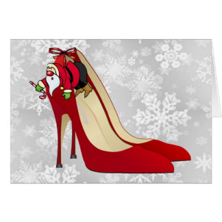 Red High Heel Shoes Santa Elf Greeting Cards