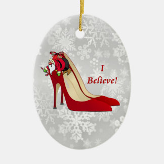 Red High Heel Shoes / Santa Elf / I Believe! Christmas Ornament