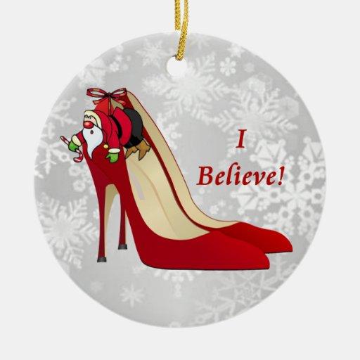 Red High Heel Shoes / Santa Elf / I Believe! Christmas Ornaments