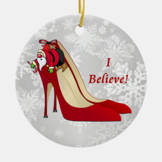 Red High Heel Shoes / Santa Elf / I Believe! Round Ceramic Decoration