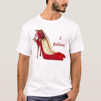 Red High Heel Shoes / Santa Elf / I Believe! T-Shirt