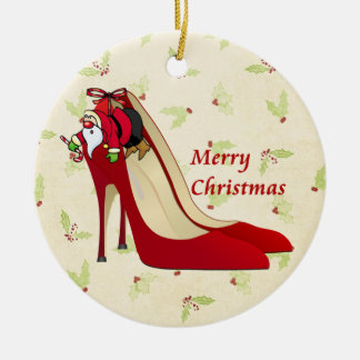 Red High Heel Shoes / Santa Elf Round Ceramic Decoration