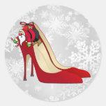 Red High Heel Shoes / Santa Elf Round Sticker