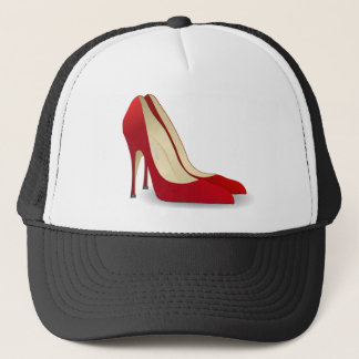 red high heel shoes trucker hat