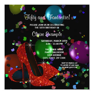 "Red High Heel Shoes Womans Birthday Party 5.25"" Square Invitation Card"