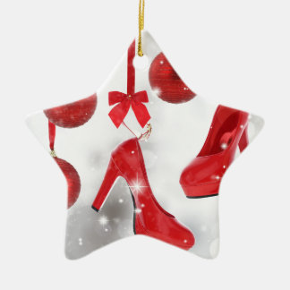 Red High Heels and Christmas Balls and Red Ribbon Christmas Ornament