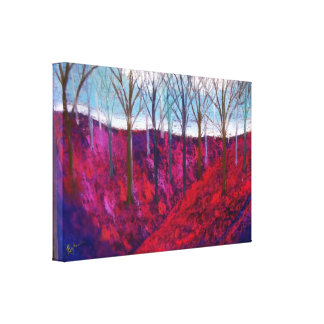 red hillside with trees canvas print