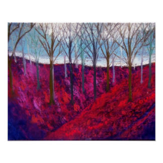 red hillside with trees, poster