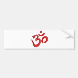 Red Hindu Symbol Om Aum Devanagari Calligraphy Bumper Sticker