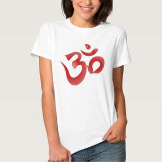 Red Hindu Symbol Om Aum Devanagari Calligraphy T Shirt