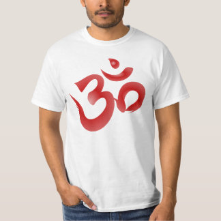 Red Hindu Symbol Om Aum Devanagari Calligraphy Tee Shirts