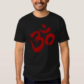 Red Hindu Symbol Om Aum Devanagari Calligraphy Tees