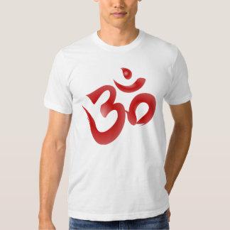 Red Hindu Symbol Om Aum Devanagari Calligraphy Tshirt