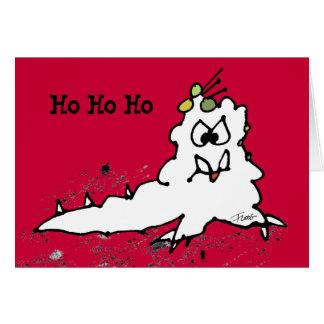 Red Ho Ho Ho Cartoon Slug Escargot Christmas Card