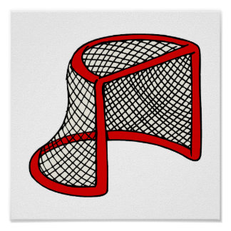 Red hockey goal poster