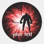Red Hockey Round Sticker