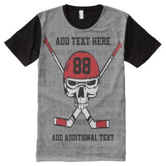 Red Hockey Skull Helmet and Sticks Typography All-Over Print T-Shirt