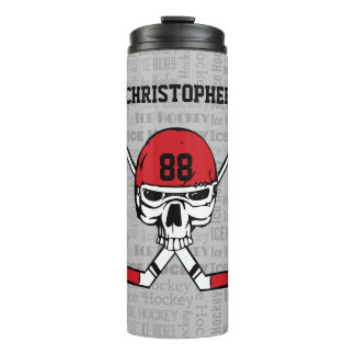 Red Hockey Skull Helmet and Sticks Typography Thermal Tumbler