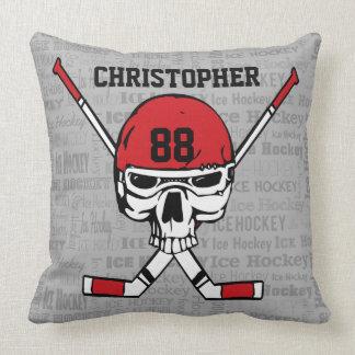 Red Hockey Skull Helmet and Sticks Typography Throw Cushions