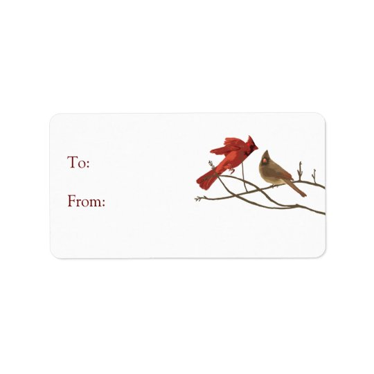 Red Holiday Cardinal Birds Gift Tag