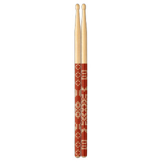 Red Holiday Embroidery Drumsticks