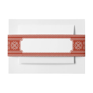 Red Holiday Embroidery Invitation Belly Band
