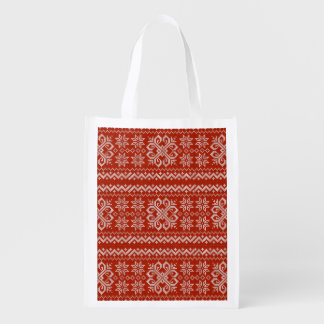 Red Holiday Embroidery Reusable Grocery Bag