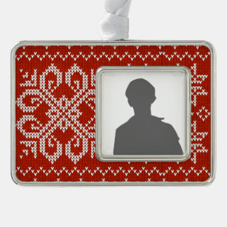 Red Holiday Embroidery Silver Plated Framed Ornament