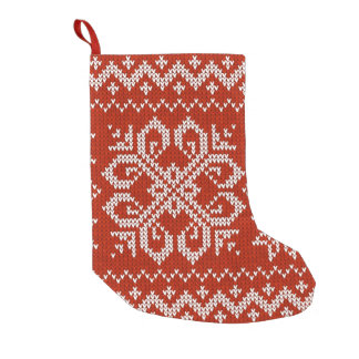 Red Holiday Embroidery Small Christmas Stocking