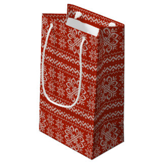 Red Holiday Embroidery Small Gift Bag