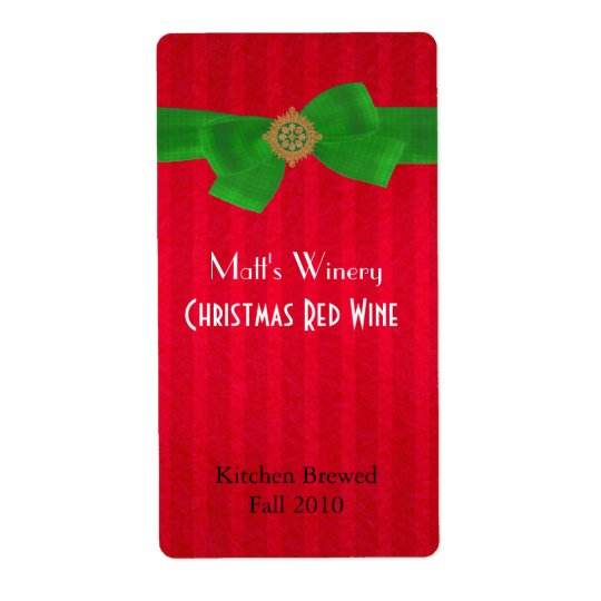 Red Holiday Home Made Wine Labels
